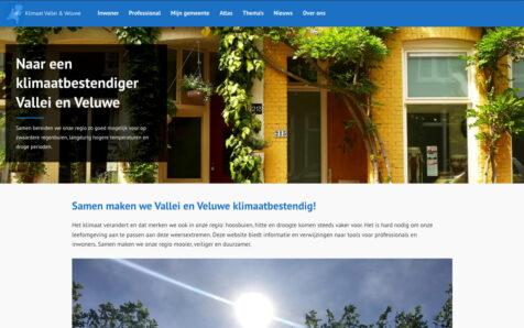Desktop weergave website klimaatvalleienveluwe.nl