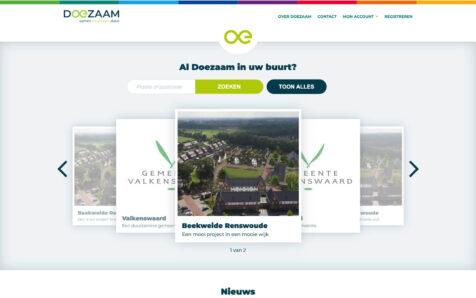Desktop weergave website doezaam.nl