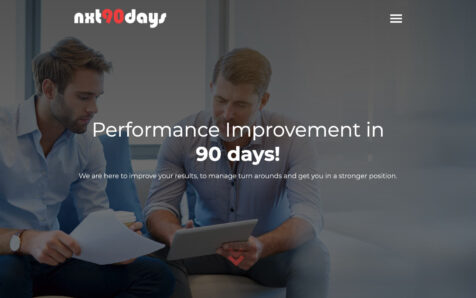 Desktop weergave website nxt90days.com